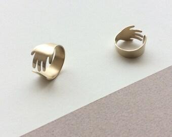 NU II. Ring main in champagne gold, hand made custom.