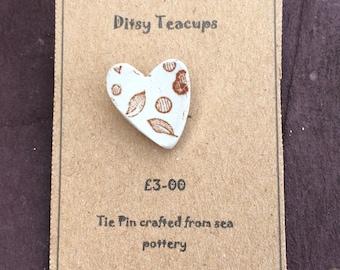 Sea tumbled pottery brooch pin