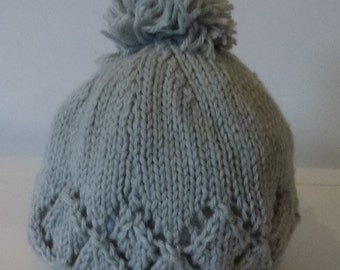 Hand knitted beanie - baby 3-6 months