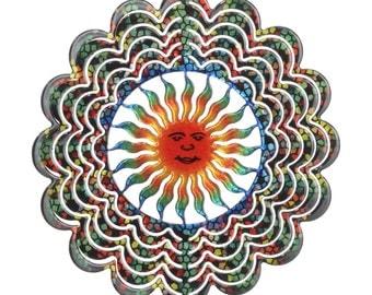 Yard Art Garden Decor Kaleidoscope Sun Face Wind Spinner, Small
