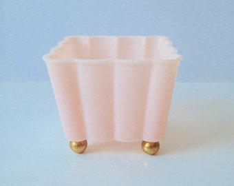Vintage Pink & Gold Plastic Dish- Hollywood Regency, Pretty Organization