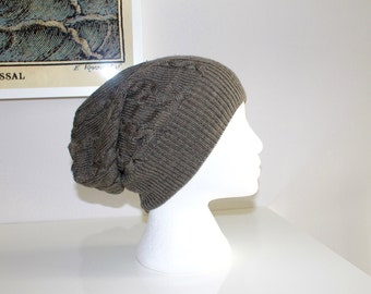 Grey slouchy toque handmade from repurposed sweater!