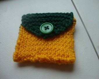 Hand-Knitted Change Purse - Green & Yellow