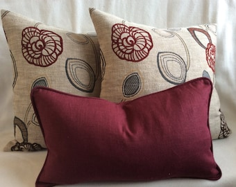 Floral Designer Pillow Cover Group - Beige/Wine red/Brown