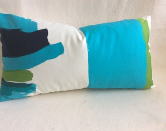 Modern Art Designer Lumbar Pillow Cover -  Turquoise/ Green/ Black - 12x22