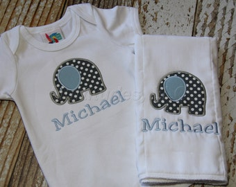 Baby Elephant Applique Onesie/Burp Cloth Set
