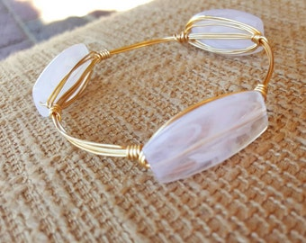 White Frosted Wire Wrapped Bangle