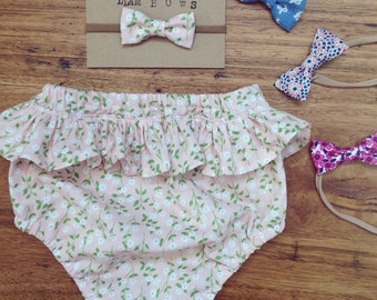 pink floral ruffle bum bloomer for baby girl