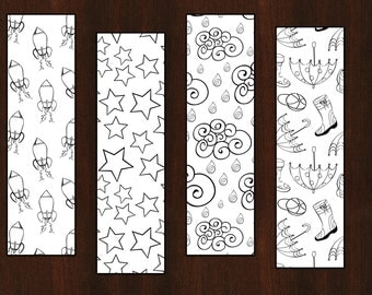 Set of 4 Color-Your-Own Bookmarks - Patterns