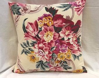 Pink Floral Barkcloth Pillow, Vintage Bark Cloth Pillow Cover Mid-Century Decorative Pillow 1940s Throw Pillows