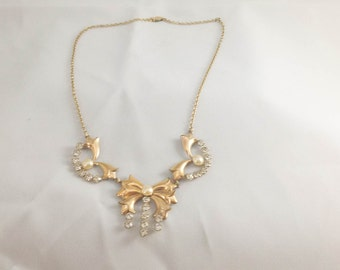 Amco Pearl and Rhinestone Necklace 1/10 10k gold filled