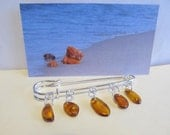 100% Natural Baltic #amber #Vintage #brooch 5 suspenders cognac transparent beads steel clasp polished beads all ages