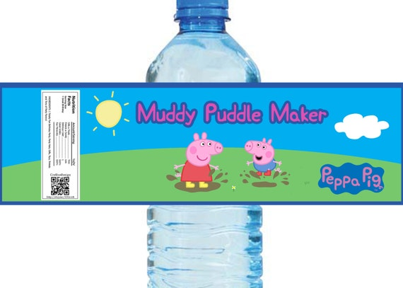 Peppa Pig Themed Water Bottle Labels 4 Unique By