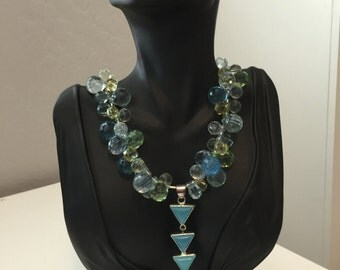 Aqua, Turquoise and Sage Green Faceted Glass Triangle Pendant Necklace