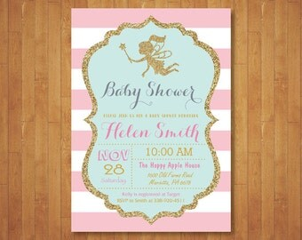 Fairy Baby Shower Invitation. Enchanted Baby Shower Invite. Pink and Gold. Mint Green Teal Aqua. Gold Glitter. Girl Baby. Printable Digital.