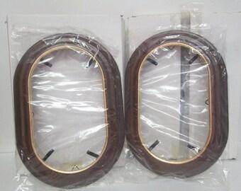 Vintage Van Hygan Smythe CS95 Rectangular Oval Wood Plate Display Frame Holder Set 2