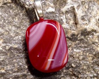 Red, White, Orange Fused Glass Pendant