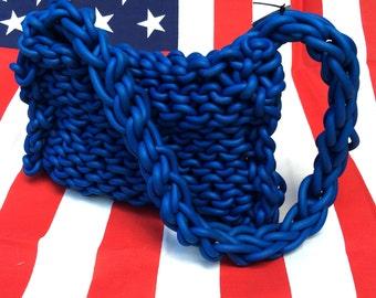 1980's, blue, hand knit, rubber shoulder bag
