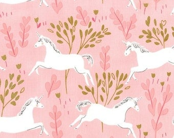 Magic Unicorn Forest Blossom METALLIC - Sarah Jane for Michael Miller - Pink Gold - Quilting Cotton Fabric - choose your cut