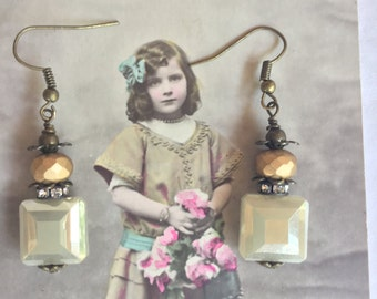 Vintage innocence-,unique vintage assemblage earrings