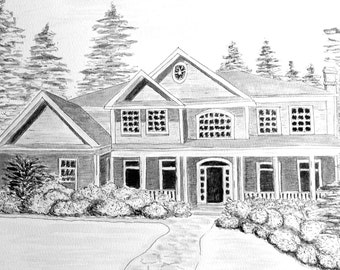 Thank you gift for parents, ink & watercolor, house sketch makes a great thank you.