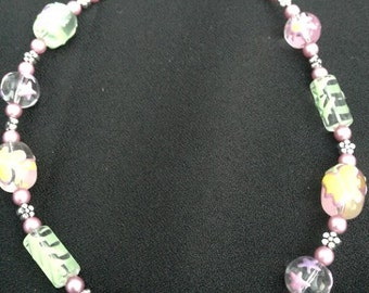 Lampwork Butterfly Beads and Pink Pearls Necklace