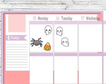 Itty Bitty or ECLP Size  Kawaii Pumpkin Black Cat Halloween Planner Stickers To Use With Erin Condren Planner Active