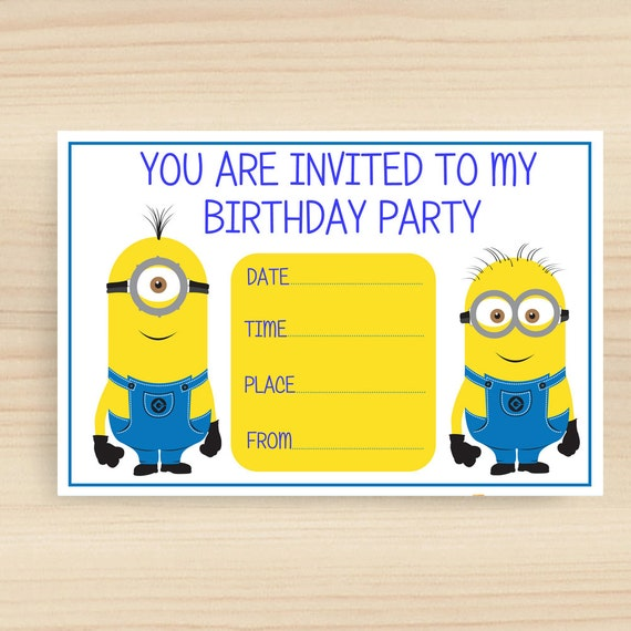 Simplicity image with minions printable invitations