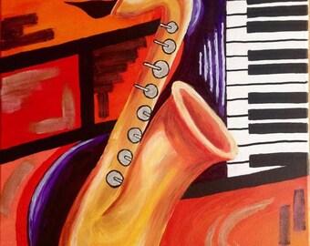 "100% original ART Acrylic Painting modern contemporary music Saxophone 20"" x 16"""