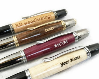 Personalized Pen, Hand Turned Custom Wood Pen, Engraved Wood Pen, Engraved Pen for Him, Groomsmen Gift, Engraved Gift, Boss Gift