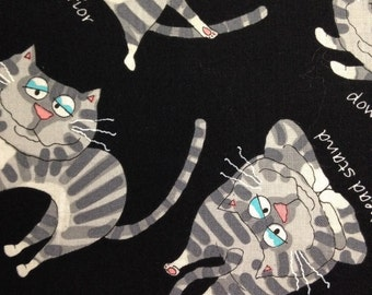 Whimsical Gray Cats on Black Background, Yoga Cats, Timeless Treasures Fabrics, 100% Cotton