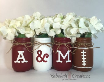 Texas A&M Mason Jars, Aggie Decor, Texas Decor, Texas Mason Jars, Gig' Em aggies, Whoop, Texas Aggies