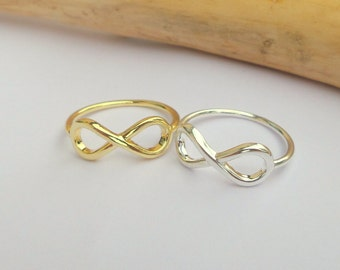 Infinity Ring, Gold, Sterling silver Infinity Ring, Statement Ring, Infinity Jewelry, Gift for her, Delicate Jewelry