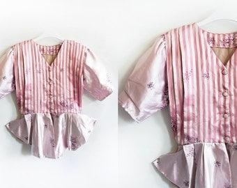 Handmade vintage silk pink floral peplum light jacket, size 2-4