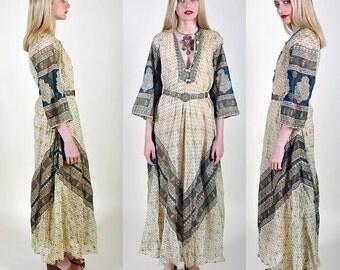 1960s Stunning Indian Goddess Maxi Ethnic Op Art Pop HiPPiE BoHo Dress