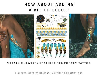 """Flash Tattoos with a little color """"NEW ITEM!"""""""