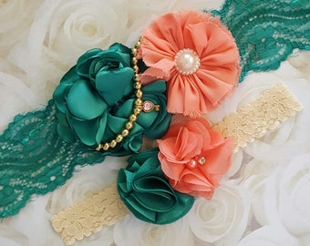 Emerald and Melon Wedding Garters,Melon and Emerald Garters,Green and Coral Garter,Peach and Green Garter,Gold Beads Green and Melon Garters