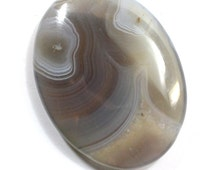 Grey Striped Agate Cabochon. White Striped Cabachon for Bead Embroidery. Oval Stone for Bead Weaving. 40mm x 30mm