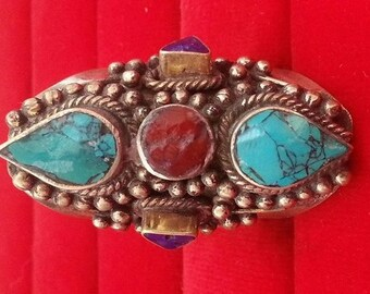 Vintage Turquoise Coral Lapis  Ring