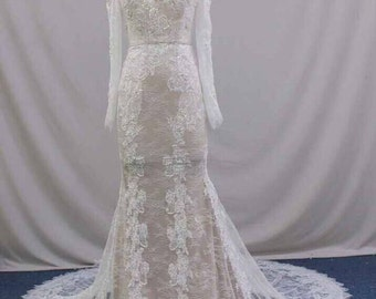 Off Shoulder Champagne  Wedding dress with Lace Overlay