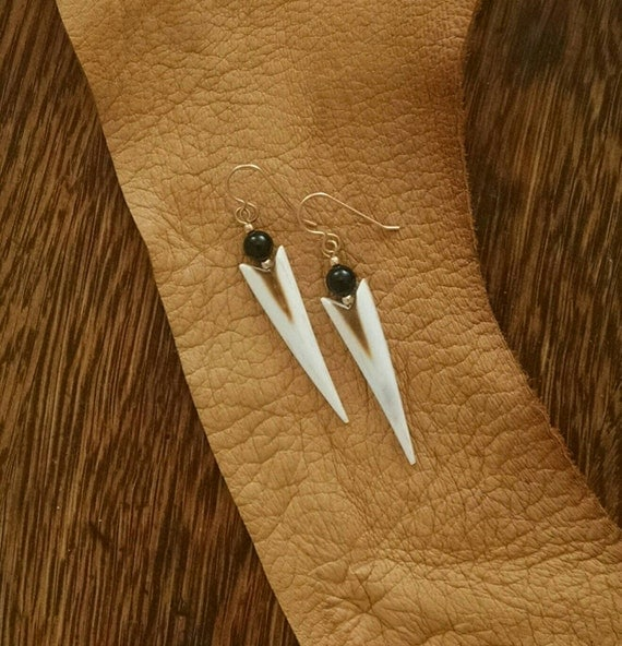 Elk Lighting Owner: Antler Jewelry Antler Earrings Elk Antler Onyx Goldfill