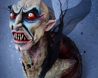 Ooak handmade faux taxidermy horror vampire head