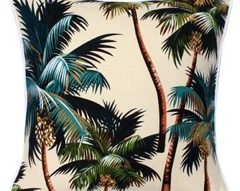 Cushion Tropical Barkcloth Kailua Palm Trees on Natural - Double Sided