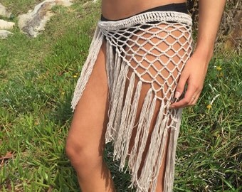 Gypsy fringe hip scarf. Crochet sarong. Crochet wrap. Beach wrap. Cover up. Gypsy clothing. Boho clothing. Festival skirt. Fringe skirt.