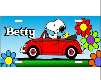 Snoopy License Plate/ Snoopy Driving Convertible