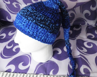 Blue & Black Crochet Fairy Hat With Tail  Size M