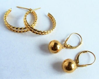 Earrings Set- 2 Pairs of Vintage Gold Tone Pierced Earrings- Small Hoops & Round Dangle Leverback Earrings, 1990s'