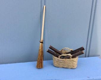 Miniature Brush & log basket for Magical Fairy Door
