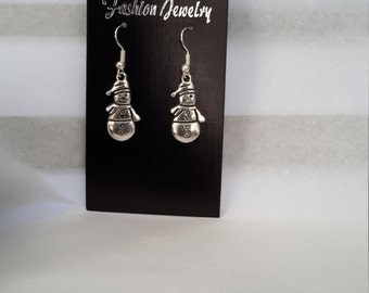 Hypoallergenic, antique silver, snowman charm earrings. Winter/Christmas theme.
