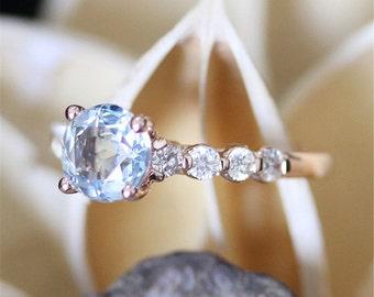Antique Aquamarine Ring,7mm Round Cut Aquamarine Engagement Ring,Diamond Eternity,Vintage Jewelry,14K Rose Gold Ring,Gems Engagement Ring